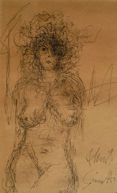 "21"" x 16"" pen & ink drawing signed Alberto Giacometti nude figurative female NR #ModernismExpressionism"