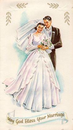 Vintage Wedding Cards, Vintage Valentine Cards, Vintage Wedding Invitations, Vintage Greeting Cards, Vintage Bridal, Wedding Bells Clip Art, Wedding Art, Wedding Images, Wedding Bride