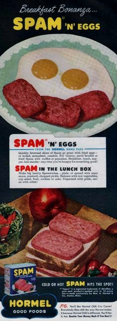 """weirdvintage: """"Spam, the """"meat in a can"""", 1946 (via Vintage Ad Browser) """" Spam Recipes, Retro Recipes, Vintage Recipes, Baby Food Recipes, Great Recipes, Cooking Recipes, Cooking Ideas, Cheap Meals, Fast Meals"""