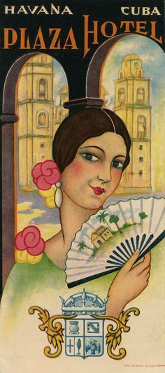 1920s period Havana Hotel Plaza advertising brochure with fantastic graphics.
