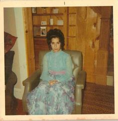 Old Vintage Photograph Beautiful Young Girl in Prom Dress With Puffy Hairdoo