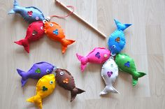 Fishing Game Felt .  Interesting use of washers at the mouths!