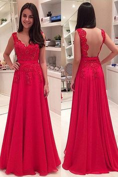 Elegant V-neck Floor Length Lace Backless Red Prom/Evening Dress