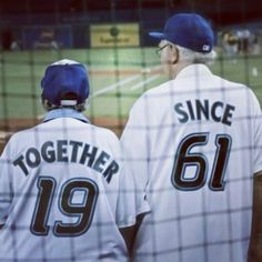 Old couple at a baseball game. Can I be married now?