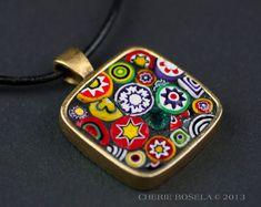 Abstract Murano Millefiori Mosaic  Wearable Art  by CherieBosela