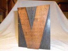 Letterpress Antique Wood Type Large 2 Sided Letter V With K Carved on Back Rare