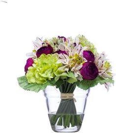 Mixed Dahlia Ranunculus Water Like Dahlia, Faux Flower Arrangements, Ranunculus, Faux Flowers, Glass Vase, Free, Water, Decor, Fake Flowers