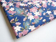 Janpanese Fabric Sakura Cherry Blossom Kimono Lovely Pink Sweet on Blue Fabric By the Yard (KM055)