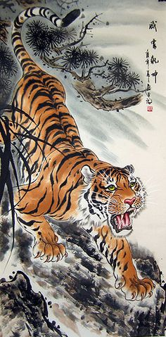 japanese tiger painting by james   OMG  I had this image on calendar in 1970's This is so cute!