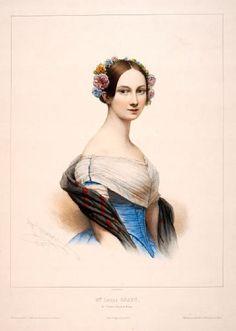 c.1840.  Lucile Grahn (1819-1907), Danish ballerina.  Lithograph by Grévedon.