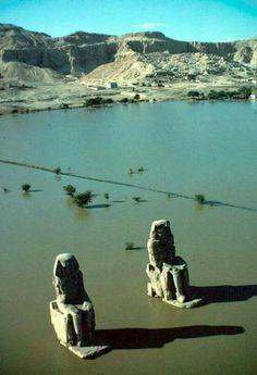 Los majestuosos colosos de Memnon En el agua de las crecidas del Nilo Antes de la inauguración de la alta presa de Aswan en el 1970. Photo : Mahmoud Hassan. Shared by Edith Cruz