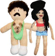 Bahahah!  Crocheted Borat and Amy Winehouse.