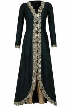 RIDHIMA BHASIN Black and gold gota patti embroidered kurta set available only at Pernia's Pop-Up Shop. Islamic Fashion, Muslim Fashion, Indian Fashion, Pakistani Dresses, Indian Dresses, Indian Outfits, Indian Designer Outfits, Designer Dresses, Abaya Fashion