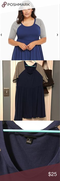 Torrid Raglan Skater Dress EUC Sporty and comfy jersey Skater Dress in navy and gray. Only worn twice. In great shape. torrid Dresses