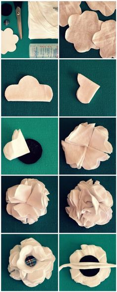 DIY Fabric Flowers flowers diy crafts home made easy crafts craft idea crafts ideas diy ideas diy crafts diy idea do it yourself diy projects diy craft handmade fabric crafts T Shirt Flowers, Flower Shirt, Felt Flowers, Diy Flowers, Fabric Flowers, Paper Flowers, Cloth Flowers, Flower Diy, Material Flowers