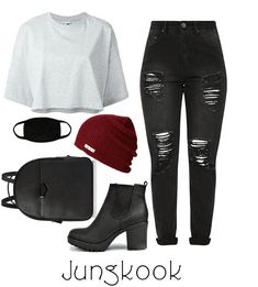 Airport outfit inspired by Jungkook from the kpop group BTS. Discover outfit ideas for everyday made with the shoplook outfit maker. How to wear ideas for black face mask and Red Beanie Kpop Fashion Outfits, Mode Outfits, Girl Outfits, Dress Outfits, Dresses, Bts Inspired Outfits, Korean Fashion Kpop Inspired Outfits, Korean Fashion Kpop Bts, Korean Outfits Kpop