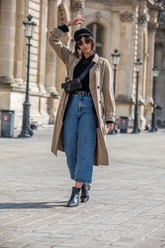 brixton fiddler cap, ray ban sunglasses, trench coat, fanny pack, sonya lee bag, paris style, french style, paris street style, french street style, paris fashion, paris fashion blogger, sheer shirt, black sheer blouse