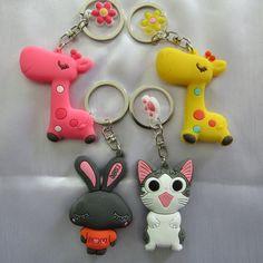 Новая Мода Милый Мультфильм Брелок Животных Кошка Кролик Жираф брелок Белый Красный Желтый Ювелирные Изделия