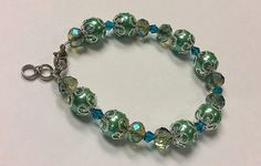 Jade Turquoise Celadon and Silver Beaded Bracelet by BadKittySwag, $8.00