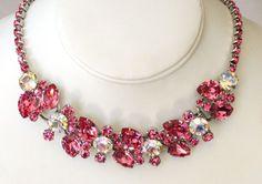Juliana Delizza Elster Huge Fuchsia Pink White AB Rhinestone Necklace- Holiday Sparkles Galore!