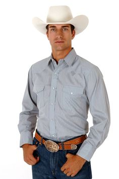 bbf2071d Roper Mens Grey Cotton Blend L/S Solid Tone On Tone Western Pearl Snap Shirt
