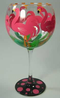 Related image Hand Painted Wine Glasses, Drinking Glass, Pink Flamingos, Paint Designs, Diy And Crafts, Glass Art, Retail, Cottage, Birds
