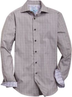 Egara Gray and Plum Plaid Slim Fit Sport Shirt   Men's Wearhouse