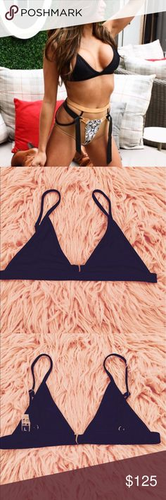 PxD Raton Bottoms and Jam Top Bikini Set Small Bottoms - Features an exposed zipper, nude mesh and leather bullhorn straps. Waist measures 12.5 in across laying flat. Can fit an XS as well. Large Top - This bra-lette style top features adjustable shoulder straps and can be worn day or night. Runs small, can fit up to a 34D depending on how much side boob or cleavage you prefer. Both have been worn, hand washed and hung dry. Leather strap is removable for cleaning. Purchased over a year ago…