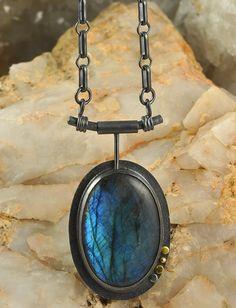 Labradorite Sterling Silver & Gold Pendant on Sterling Silver Chain - Danielle H. Ross, Metalsmith http://www.gemstonejewelrybydanielle.com https://www.facebook.com/gemstonejewelrybydanielle https://www.etsy.com/shop/DanielleHRossJewelry https://instagram.com/daniellehrossjewelry/
