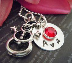 Hand Stamped Jewelry-Christmas Necklace-Snowman-Children Gift-Snowman Charm-Birthstone