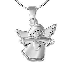 moderner Schutz Engel Flügel Anhänger mit weiß emailliert und Kette Silber 925
