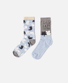 Lot de 2 paires de chaussettes chat souris - OYSHO