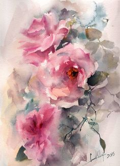 Roses Original Watercolor Painting Pink Roses Roses by CanotStop