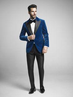Bright Blue Velvet Dinner Jacket.
