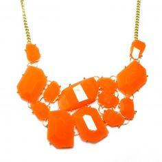 Neon Orange Stone Fragments Statement Necklace