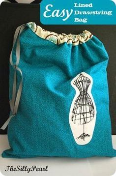 The Silly Pearl {Handmade}: Craft Tutorial: Easy Lined Drawstring Bag Sewing Basics, Sewing Hacks, Sewing Tutorials, Sewing Crafts, Sewing Projects, Knitting Projects, Basic Sewing, Sewing Ideas, Craft Projects