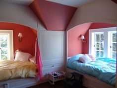 Beds in alcoves for girls. Nice!
