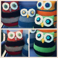 Bizzy Crochet: Owl Pillows in Two Sizes: Last Pattern for 2012!