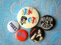 Collectible 80s 90s ROCK band buttons badges pins, vintage retro memorabilia. I own The Police one on the right .