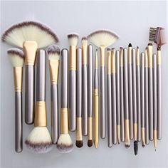 Unimeix Professional Makeup Brushes 24 pcs Quality Natural Cosmetic Brush Set wi...