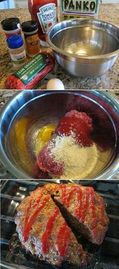 Simple Meatloaf Recipe - wonderful comfort food on a cold, winter's day. And no chunks of onion! This is the best meatloaf! Even my meatloaf hating husband liked it. Definitely MY meatloaf recipe. Meat Loaf Recipe Easy, Meat Recipes, Cooking Recipes, Easy Cooking, Amish Recipes, Dutch Recipes, Cooking Bacon, Turkey Recipes, Cooking Tips