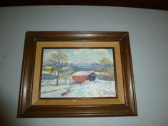 Small Vintage Oil Painting Lin Anderson Cooley Bridge Pittsford VT Snowscene