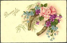 GL010-FER-a-CHEVAL-ROSES-VIOLETTES-MYOSOTIS-FANTAISIE-Belle-LITHO-PITTIUS