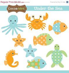 clip art octopus, crab, fish, seahors, turtle