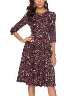 86c7e6f47 Simple Flavor Women s Floral Evening Flare Vintage Midi Dress 3 4 Sleeve  Vestidos De Noche