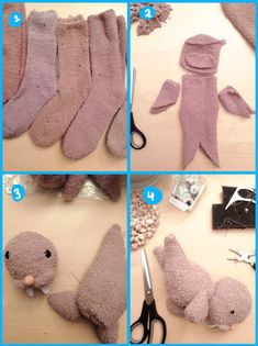 I think this is a seal or walrus sock doll. Very clever use of otherwise dull Colour socks for upcycle craft . Sock Crafts, Cute Crafts, Fabric Crafts, Sewing Toys, Sewing Crafts, Sewing Projects, Sewing Stuffed Animals, Stuffed Animal Patterns, Doll Patterns