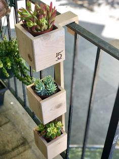 Tiered Balcony Planter Box This handmade THREE-TIER planter is the ideal solution for those that wan Balcony Planters, Small Balcony Garden, Small Balcony Decor, Garden Planters, Balcony Herb Gardens, Plants On Balcony, Balcony Flowers, Balcony Gardening, Apartment Balcony Garden
