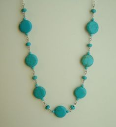 Turquoise Blue Howlite Necklace Beaded Handmade Silver Metal Chain Adjustable #Handmade #Beaded #Howlite #Necklace