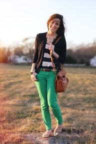 kelly green pants with stripe top - Google Search