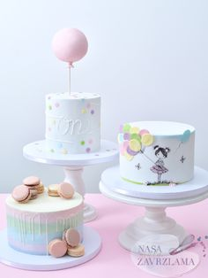 Birthday girl cake desserts 20 ideas for 2019 Girls First Birthday Cake, Baby Birthday Cakes, Pretty Cakes, Beautiful Cakes, Bolo Tumblr, Creative Birthday Cakes, Bolo Cake, Balloon Cake, Girl Cakes